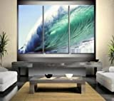 3 Pics Paciffic Ocean Big Wave Abstract Modern Art 100% Hand Painted Oil Painting on Canvas Wall Art Deco Home Decoration (Unstretch No Frame)