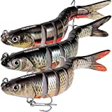 TRUSCEND Fishing Bass Lures Multi Jointed Topwater Life-Like Trout Swimbait Hard CrankBaits (Combo-H)