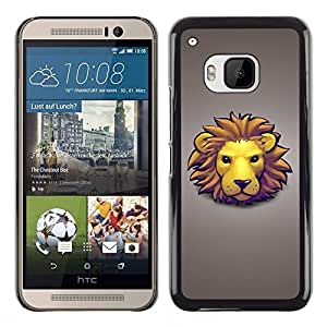 TECHCASE**Cubierta de la caja de protección la piel dura para el ** HTC One M9 ** Lion Face Mane Yellow Big Cat Art Drawing Cartoon