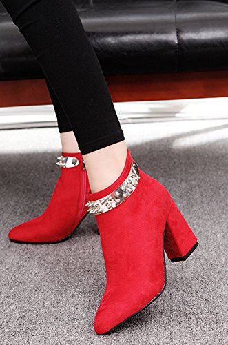 Femme Pointues Bottines Aisun Mariage Rouge Rivet Original tdZdwnxaXq