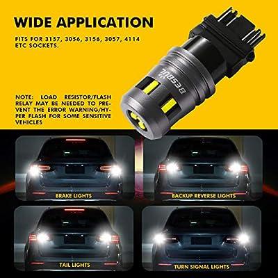 Besbul 3157 LED Bulb, Extremely Bright 3057 3047 LED High Lumens 12-40V 3056 3156 3157K 4157 4114 LED Tail Reverse Backup Brake DRL Parking Light Bulbs 6000K White, Pack of 2: Automotive