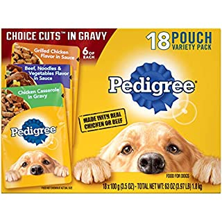 PEDIGREE CHOICE CUTS in Gravy Adult Soft Wet Meaty Dog Food Variety Pack, (36) 3.5 oz. Pouches