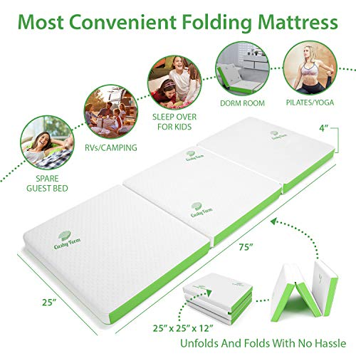 Tri-Fold Folding Mattress w/Storage & Carry Case - Best As Kids Guest Bed, Camping, RV, Cot, Floor Mat - Ultra Soft Removable Washable Cover, Foldable, Portable & Compact [75 x 25 x 4 Inch]