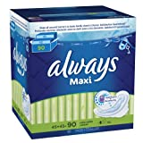 Always Maxi Long Super Pads With Wings, 90 Count