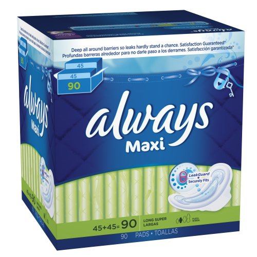 Always Maxi Long Super Pads With Wings, 90 Count by Always