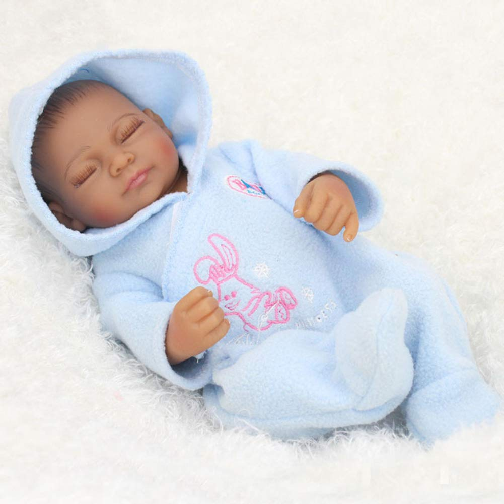 NPKdoll 28cm Reborn Baby Doll Lifelike Simulation Boy/Girl,Black Skin Whole Body Soft Silicone, Hand Drawn Hair/Can Bathe in The Water/Equipped with Clothing Baby Toy Gift
