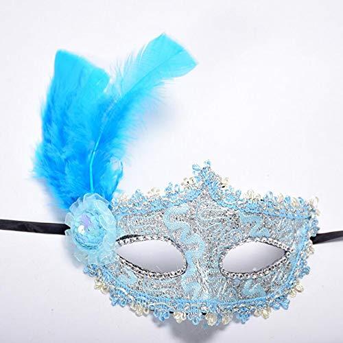1Pc Women Sexy Venetian Lace Feather Flower Eye Masks Christmas Halloween Masquerade Mask Girls Half Face Party Dance Headwear Blue ()