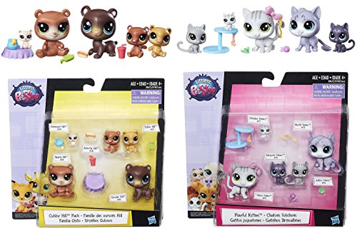 Littlest Pet Shop Cubby Hill Pack & Playful Kitties with 10 Pet & 10 Accessroies Bundle ()