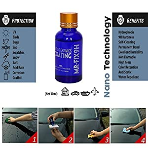 Mercu 9H AUTO CERAMIC COATING CAR KIT, Anti Scratch Car Liquid Ceramic Coating Paint Sealant Protection Super Hydrophobic Glass Coating Polish-30ML