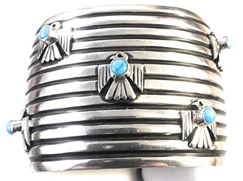 - Nizhoni Traders LLC Navajo Turquoise and Sterling Silver Thunderbird Cuff Bracelet Signed