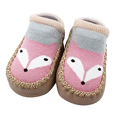 Vovotrade/® Baby Boys Girls Kids Cute Cartoon Toddler Anti-slip Sock Shoes Boots Slipper Socks Age 0-6 18 24 months Gray 0-6 months