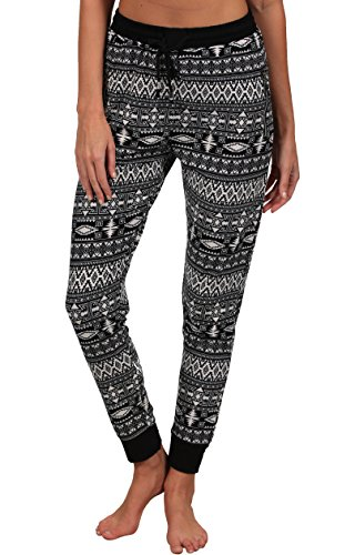 INGEAR Jogger Pants Pocket Casual Sport Drawstring Harem Soft Runner Yoga Pilate (Small/Medium, Black/White) (Pant Cord Skinny)