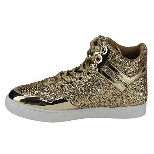 Forever Fp64 Mujeres Glitter Lace Up Tobillo High Top Street Sneakers Gold