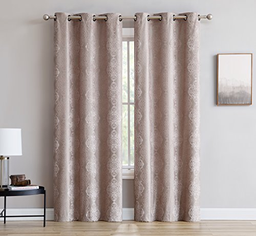Roberta - Total Blackout Grommet Curtains by LinenZone - Blocks 100% Sunlight - 4 Layers High Density & Noise Reduction Fabric - Energy Efficient (2 panels - 37