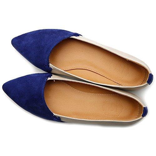 Ollio Damesschoenschoenen Comfort Faux Suede Two Tone Multi Color Platte Navy