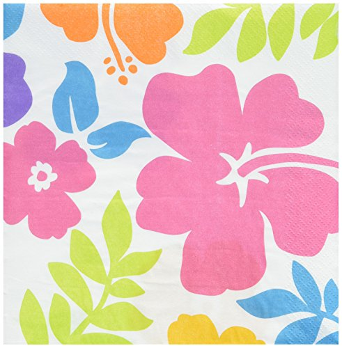 Amscan Hibiscus Party Luncheon Napkins, 6.5