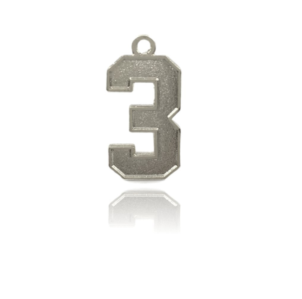 Number 3 Jersey Style Sports Necklace Charm Pendant (0.8'' Tall - Standard Size) SILVER PLATED Perfect For: Football, Baseball, Basketball, Soccer, Hockey, Softball, Volleyball, Lacrosse & More by CustomNumberCharms (Image #1)