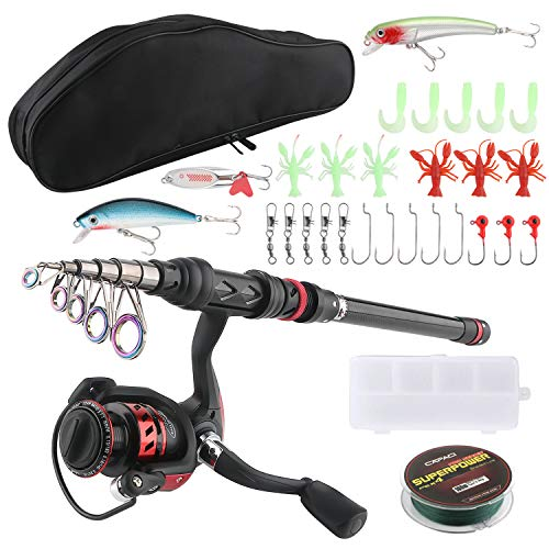 SupsShop Portable Fishing Rod Reel Combos 2.1m 6.9ft Telescopic Carbon Fiber Light Weight Fishing Pole with Fishing Reel Lures Pocket Tackle Box Spinning Rod with Double Layer Carrier Bag for Travel