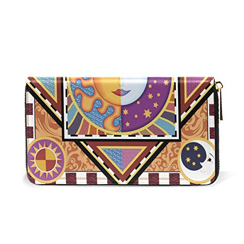 And Moon Purses Ethnic And TIZORAX Zip Organizer Around Wallet Clutch Handbags Sun Womens t8Axaw