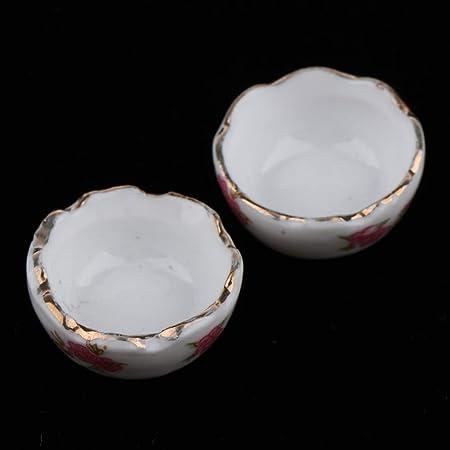 1:12 Scale Ceramic Butterfly Dish Tumdee Dolls House Miniature Bowl Kitchen