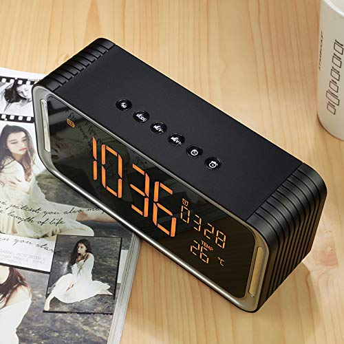 xingganglengyin Creative Big Screen Double Alarm Clock Wireless Bluetooth Speaker Computer Card HiFi subwoofer Audio Gift by xingganglengyin (Image #2)