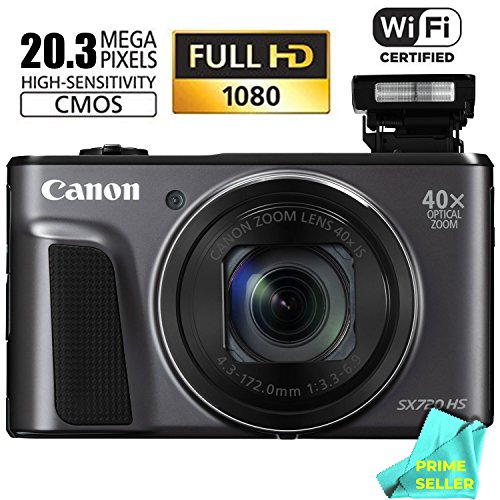 Canon PowerShot SX720 HS 24mm WIDE 40x Zoom Point & Shoot Digital Camera (WiFi Enabled, NFC Enabled) + Prime Seller Microfiber (Zoom Point)