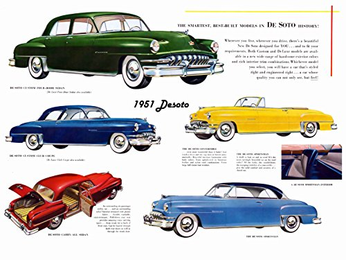 DeSoto Custom Deluxe (1951) Illustrated Car Brochure Print on 10 Mil Archival Satin Paper Multi Color Front Side Static View 11