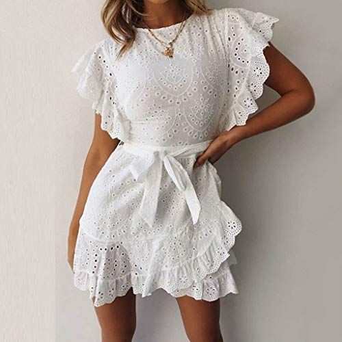 1cd3f6695ec Gyouanime Womens Mini Dress Ruffled Sleeved Belt Dress Short Dress  Graduation Evening Party Dress
