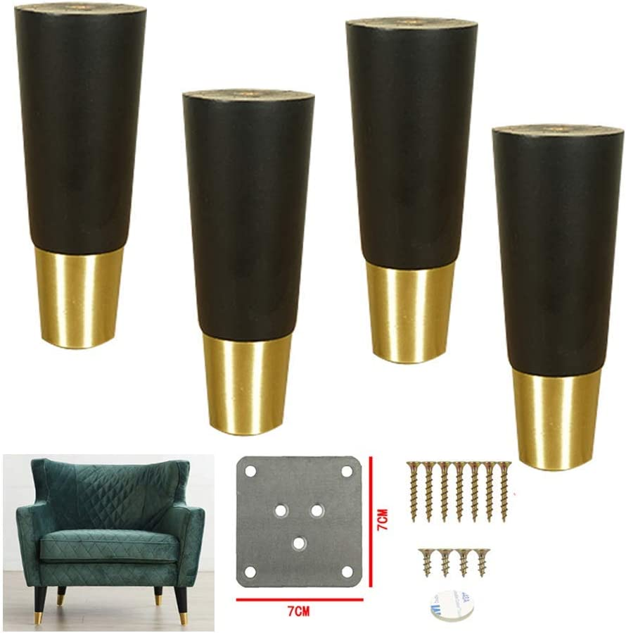 MWPO 4Pack Wood Sofa Legs,Reliable Wooden Furniture Legs Parts,Solid Tea Table TV Cabinet Legs Sofa Feets,for Stools,Cabinets,Desk Nightstand,Brass Foot Cover(10.5cm/4.13in)