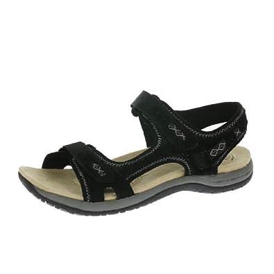 f4fc3a5f Earth Spirit Frisco Ladies Suede Touch Fasten Sandals Black: Amazon ...