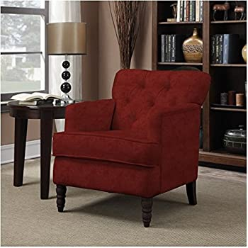 This Item Portfolio Sayre Sangria Living Room Tufted Comfortable  Upholstered Red Chenille Arm Chair