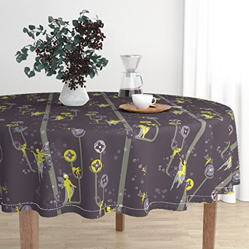 Roostery Round Tablecloth - Midsummer Midsummer Nights Dream Shakespeare Faerie Night S Dream Oberon by Thecalvarium - Cotton Sateen Tablecloth 90in