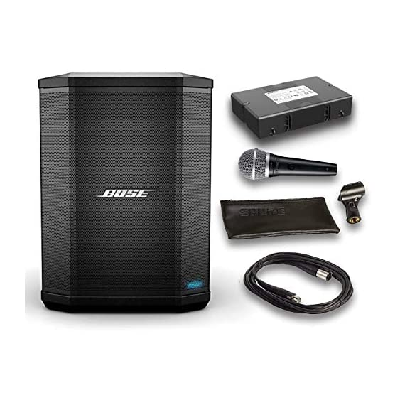 Bose S1 Pro Bluetooth Speaker System Bundle with Battery, Shure PGA48 Microphone, 15ft XLR Audio Cable (6 items) 1 Bundle Includes: Bose S1 Pro Bluetooth Speaker System Bundle with Battery, Shure PGA48 Microphone, 15ft XLR Audio Cable (6 items) Wireless Bluetooth pairing and inputs for a microphone or musical instrument such as a keyboard or guitar Built-in sensors and multiple aiming positions for optimal sound in any nearly position