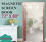 Transparent Magnetic Screen Door 72'×80'Curtain Prevent Air Conditioning Loss Help Saving Electricity & Money,Enjoy Warm Winter,Thermal and Insulated Auto Closer Door Curtain