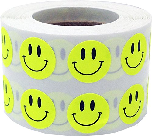 Fluorescent Yellow Smiley Face Circle Dot Stickers, 1/2 Inch Round, 1000 Labels on a Roll