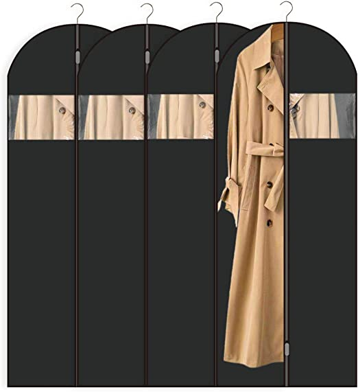 Perber Garment Bag Suit Bag (Set of 8)(24 x48 inch) Full Zipper Washable Dust Cover with Clear Window ,Moth-Proof Breathable Non Woven Fabric Bags for Closet Storage and Travel