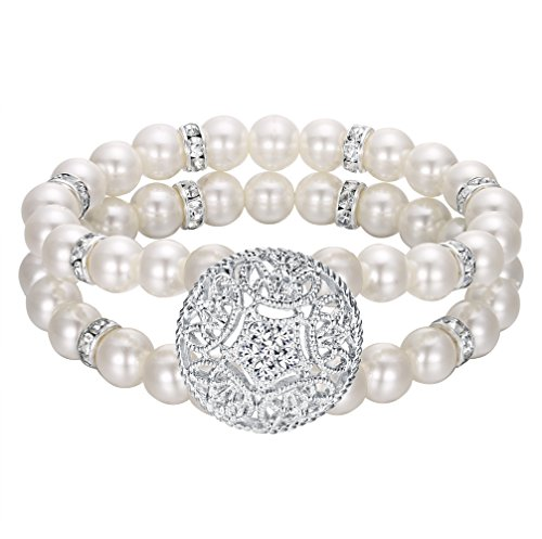 Bracelet Mother Pearl Vintage Of (EVER FAITH Women's Crystal Simulated Pearl 2-Rows Bridal Vintage Inspired Style Stretch Bracelet)