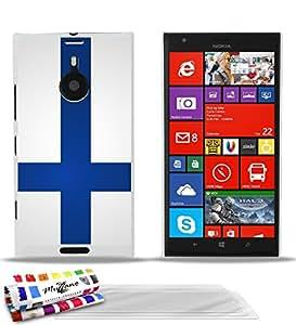 Carcasa flexible Ultrafina Blanca Original de MUZZANO estampada Bandera Finlandia para NOKIA LUMIA 1520 + 3 películas de protección UltraClear para la pantalla