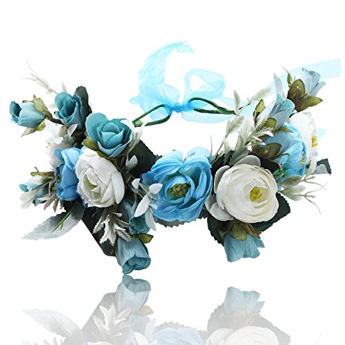Flower Crown Bohemian Floral Headdress - AWAYTR Female Flower Headband Hair Wreath Wedding Hair Accessories (Blue-A)