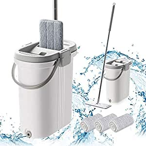 BOOMJOY Microfiber Flat Mop, Wet Dry Floor Cleaning Hand Free, with 1 Bucket and 3 Reusable Mop Pads, Stainless Steel Handle, Extra Large