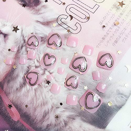 24 puntas de uñas postizas con forma de corazón para uñas postizas ...