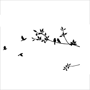 CUNYA Birds Flying Between Tree Branches Wall Decor Stickers, Life Simple DIY Wall Art Decals Wallpaper Mural Home Decoration for Living Room, Kids Room, Farmhouse, Bathroom Decor