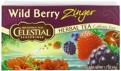 Celestial Seasonings Herb Tea Wild Berry Zinger, 20-count (Pack of 6) (Blueberry Wild Tea Black)