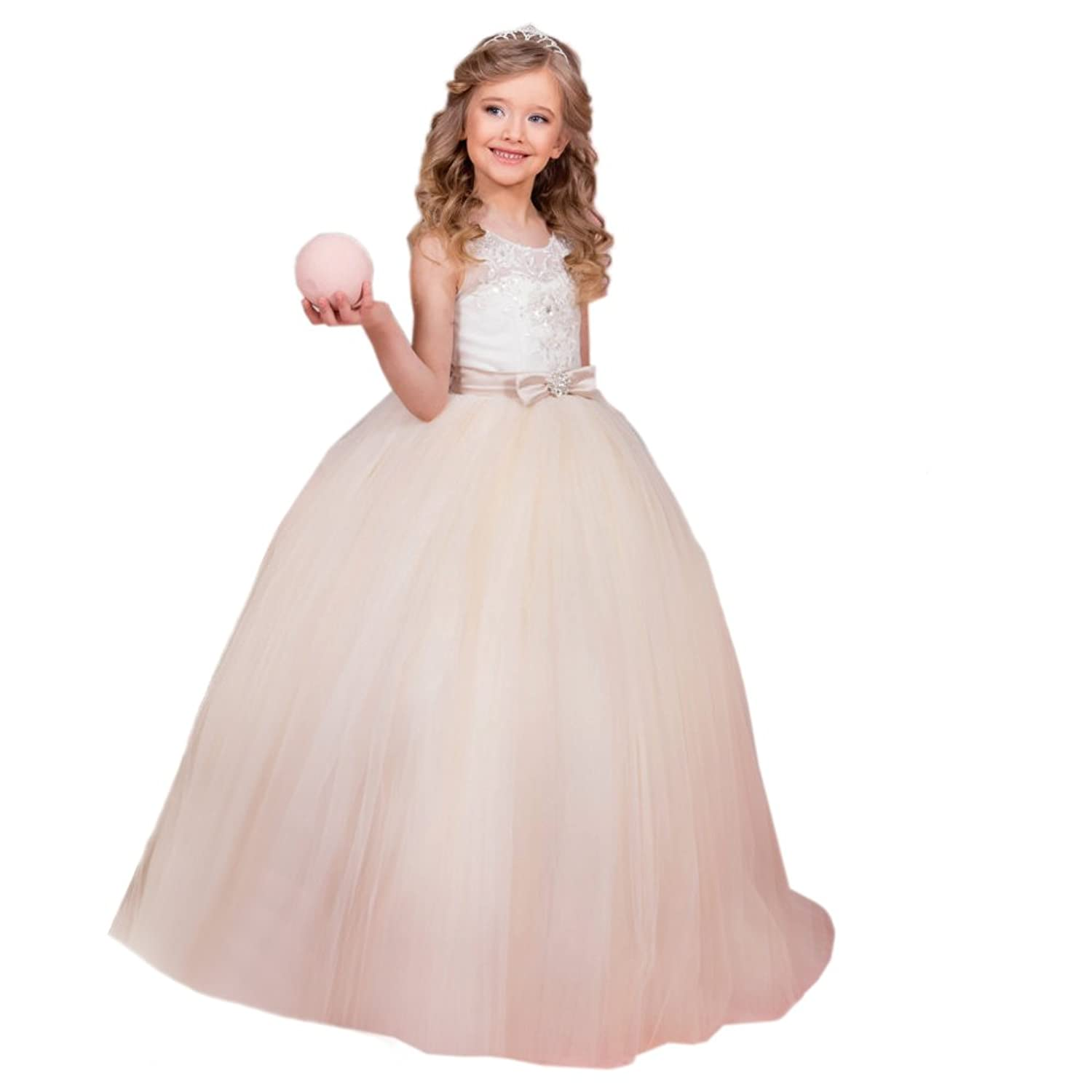 Abaowedding Baby Girl Sequins Sleeveless Bow Belt Long Baptism Christening Gown Dresses