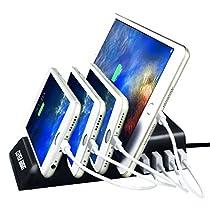 USB Charging Station 4-Port Desktop Charger Micro USB Charging Station for for Galaxy S7/S6/Edge, Note 5,iPhone X, iPhone 8, iPhone 8 Plus,iPhone 7/6s/Plus, iPad, LG, Nexus 6,HTC