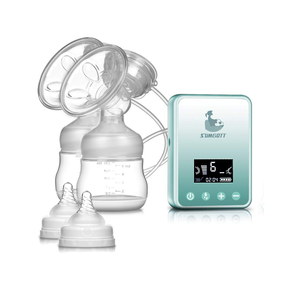 Electric Breast Pump - SUMGOTT Rechargeable Digital LCD Display Dual Silicone Breastfeeding Pump PiAEK