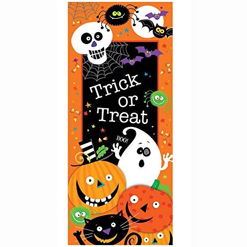 Plastic Trick or Treat Halloween Door Poster, 5 x 2.25ft]()