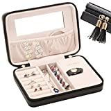 JL LELADY JEWELRY Small Jewelry Box Organizer Travel Jewelry Case Portable Faux Leather Jewelry Organizer Boxes Storage Case with Mirror for Women Girls (Black)