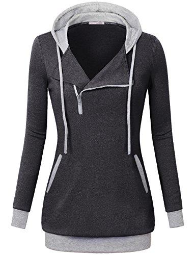 Black Pullover Hoodie,Messic Long Sleeve Women's Tunics Slim Fit 1/4 Oblique Zipper Hoodie Sweatshirt,Carbon Black,XX-Large