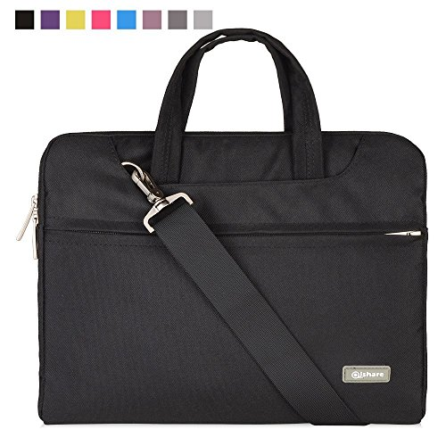 Qishare 15 15.6 16inch Black Multi-functional Business Laptop Sleeve / Carrying Handbag Briefcase / Laptop Messenger Bag for All 15 15.6 Inch Acer Asus Dell Lenovo Hp Samsung Toshiba (Black, 15.6-16)